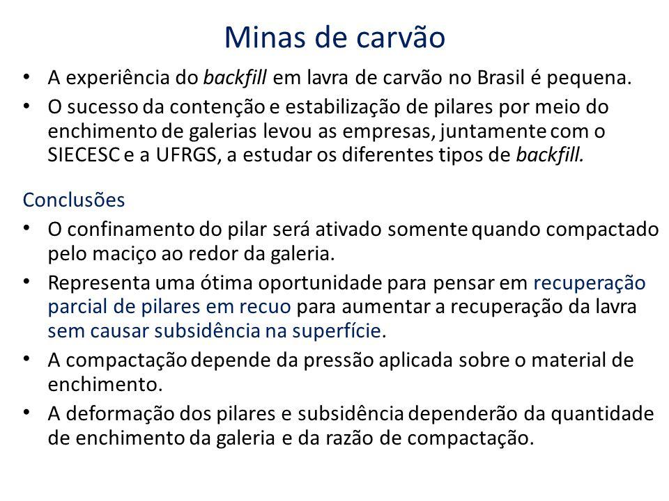 Minas de carvão A experiência do backfill em lavra de carvão no Brasil é pequena. O sucesso da contenção e estabilização de pilares por meio do enchim
