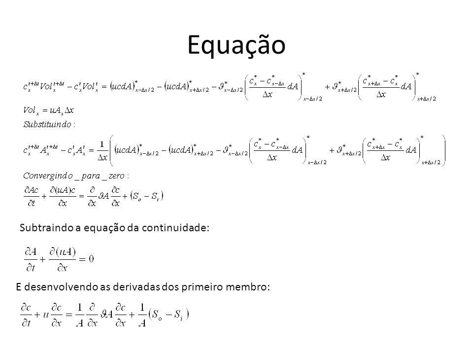 Equação Subtraindo a equação da continuidade: E desenvolvendo as derivadas dos primeiro membro: