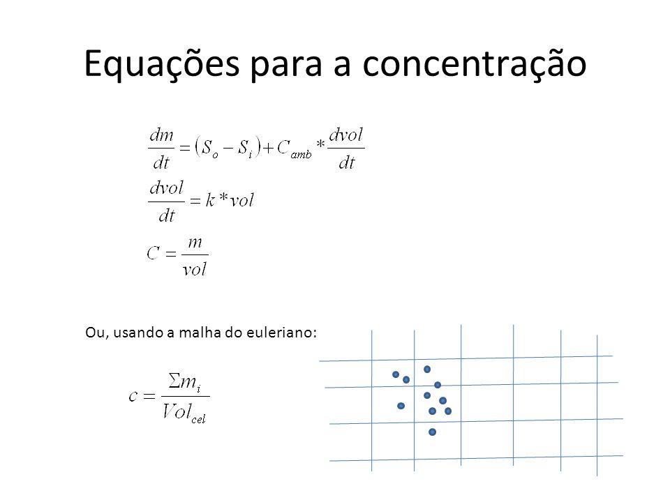 Equações para a concentração Ou, usando a malha do euleriano: