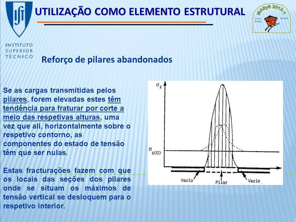 UTILIZAÇÃO COMO ELEMENTO ESTRUTURAL Reforço de pilares abandonados Se as cargas transmitidas pelos pilares, forem elevadas estes têm tendência para fraturar por corte a meio das respetivas alturas, uma vez que ali, horizontalmente sobre o respetivo contorno, as componentes do estado de tensão têm que ser nulas.