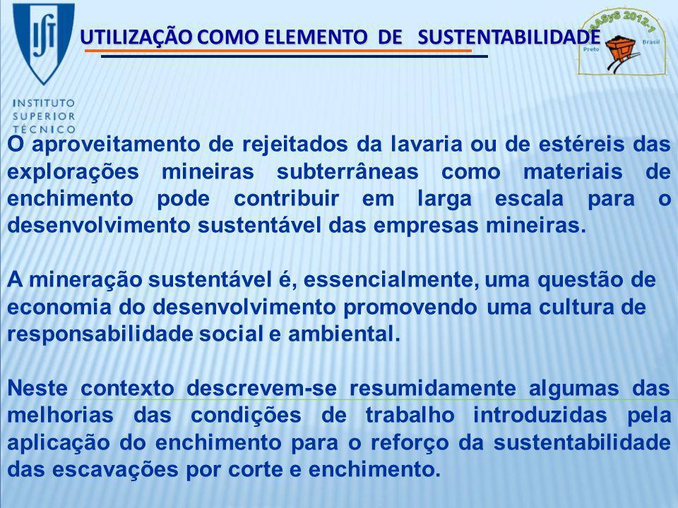UTILIZAÇÃO COMO ELEMENTO DE SUSTENTABILIDADE O aproveitamento de rejeitados da lavaria ou de estéreis das explorações mineiras subterrâneas como materiais de enchimento pode contribuir em larga escala para o desenvolvimento sustentável das empresas mineiras.