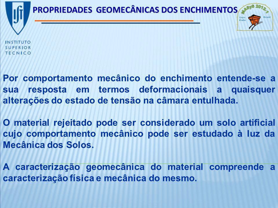 PROPRIEDADES GEOMECÂNICAS DOS ENCHIMENTOS Por comportamento mecânico do enchimento entende-se a sua resposta em termos deformacionais a quaisquer alterações do estado de tensão na câmara entulhada.