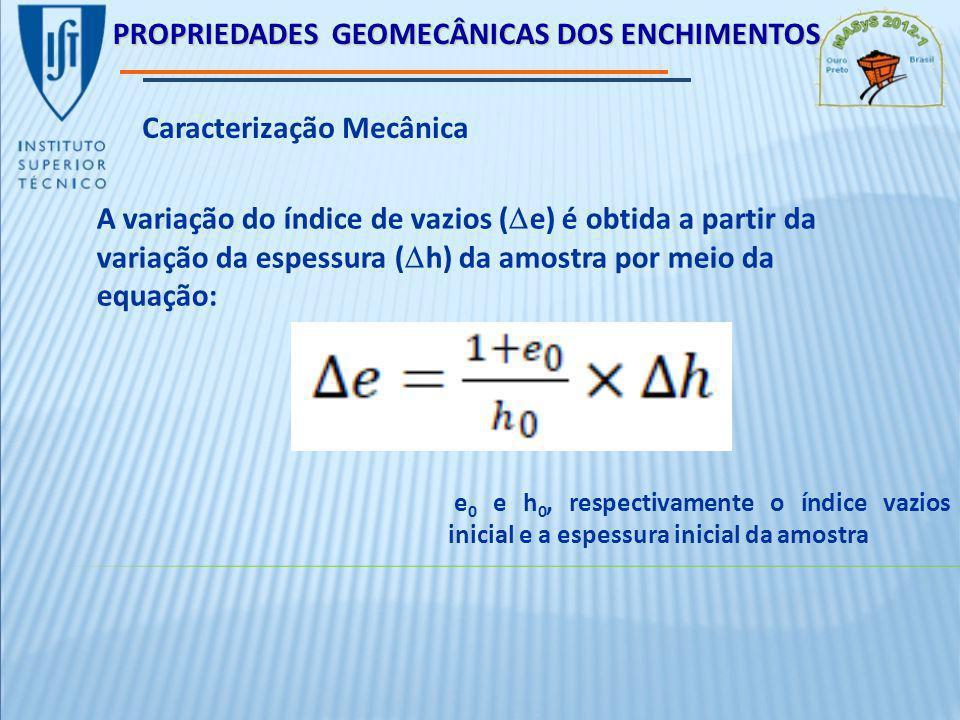 PROPRIEDADES GEOMECÂNICAS DOS ENCHIMENTOS Caracterização Mecânica A variação do índice de vazios ( e) é obtida a partir da variação da espessura ( h) da amostra por meio da equação: e 0 e h 0, respectivamente o índice vazios inicial e a espessura inicial da amostra