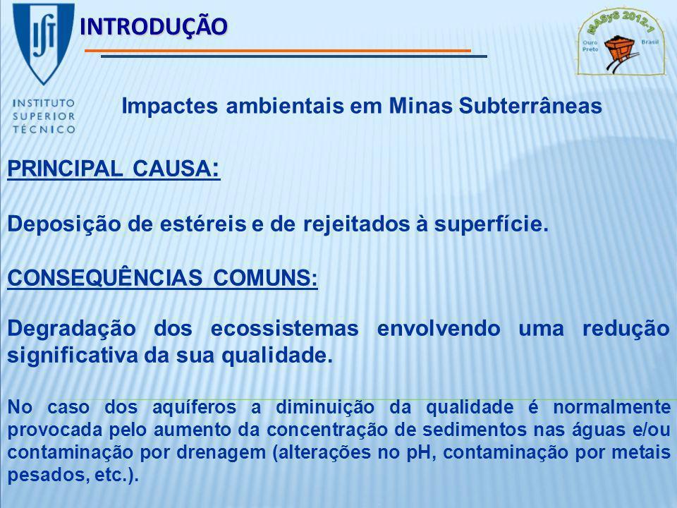 INTRODUÇÃO PRINCIPAL CAUSA : Deposição de estéreis e de rejeitados à superfície.