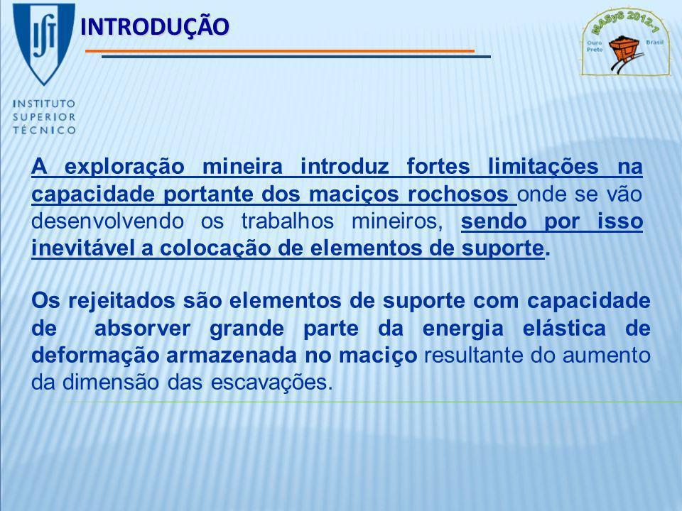 INTRODUÇÃO A exploração mineira introduz fortes limitações na capacidade portante dos maciços rochosos onde se vão desenvolvendo os trabalhos mineiros, sendo por isso inevitável a colocação de elementos de suporte.