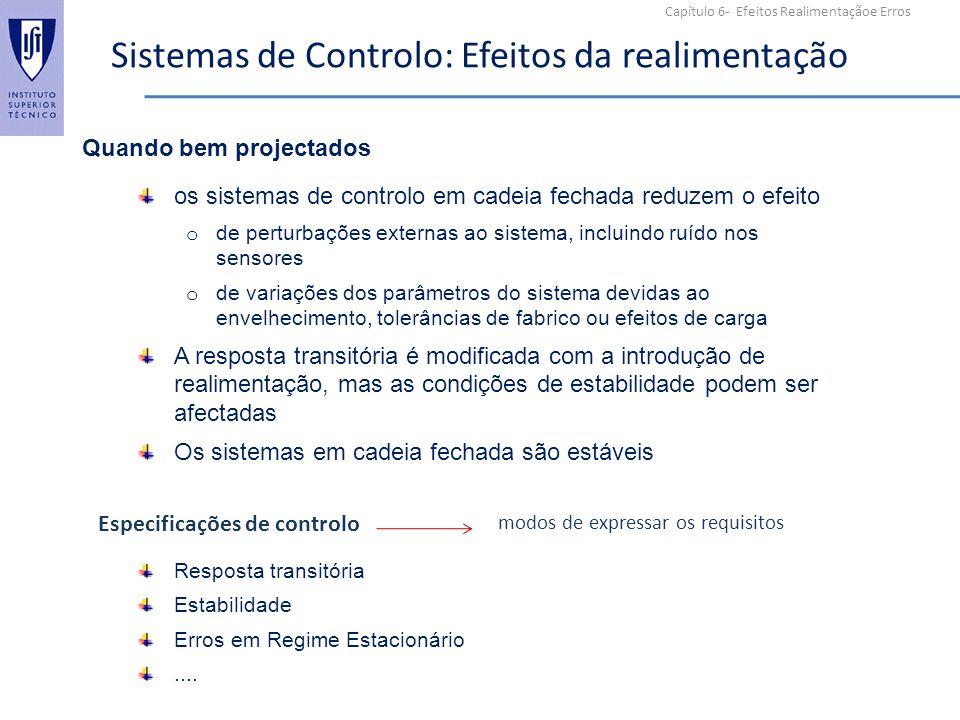 Capítulo 6- Efeitos Realimentaçãoe Erros Sistemas de Controlo: Efeitos da realimentação os sistemas de controlo em cadeia fechada reduzem o efeito o d