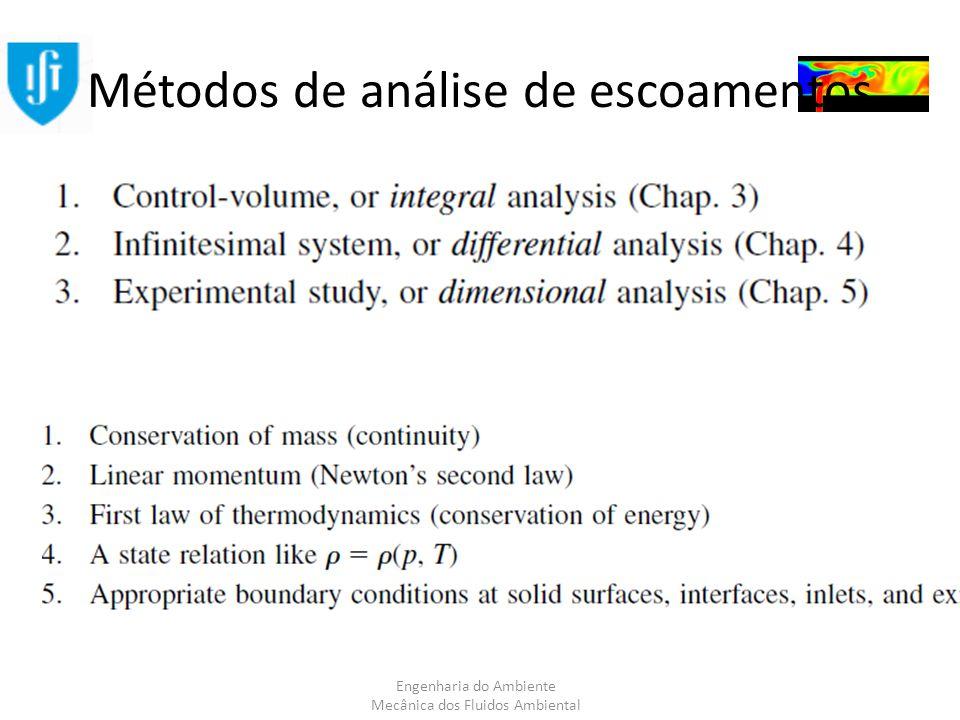 Engenharia do Ambiente Mecânica dos Fluidos Ambiental Métodos de análise de escoamentos