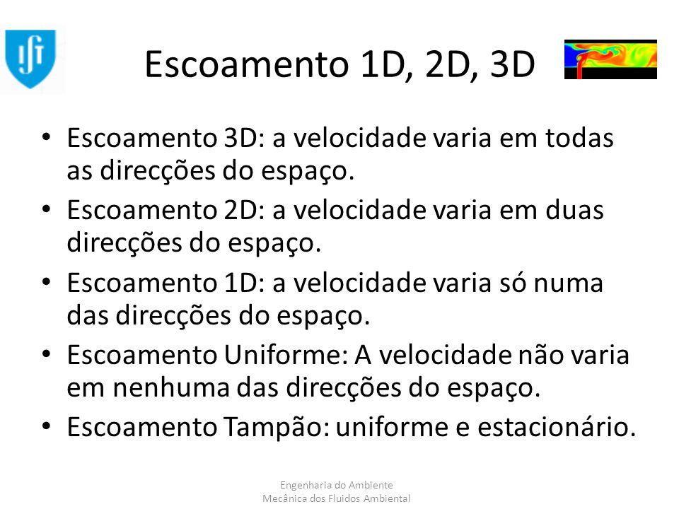 Engenharia do Ambiente Mecânica dos Fluidos Ambiental Escoamento 1D, 2D, 3D Escoamento 3D: a velocidade varia em todas as direcções do espaço. Escoame