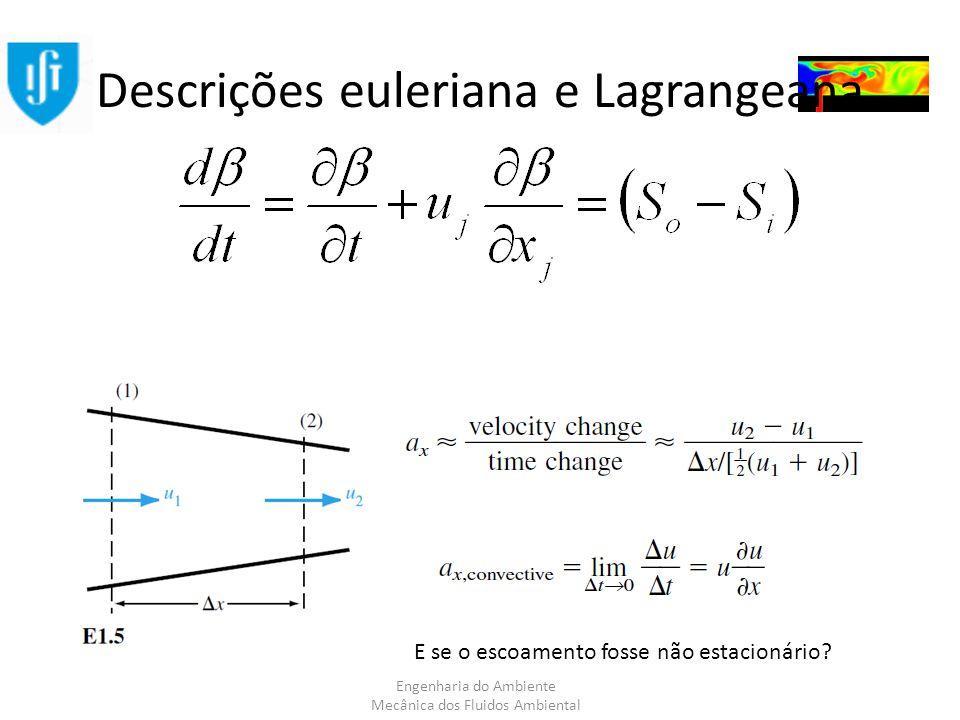 Engenharia do Ambiente Mecânica dos Fluidos Ambiental Descrições euleriana e Lagrangeana E se o escoamento fosse não estacionário?