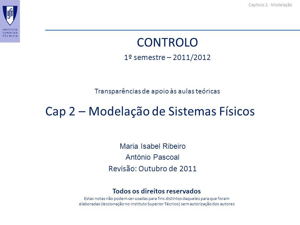 Capítulo 2 - Modelação Cap 2 – Modelação de Sistemas Físicos Maria Isabel Ribeiro António Pascoal Revisão: Outubro de 2011 Transparências de apoio às