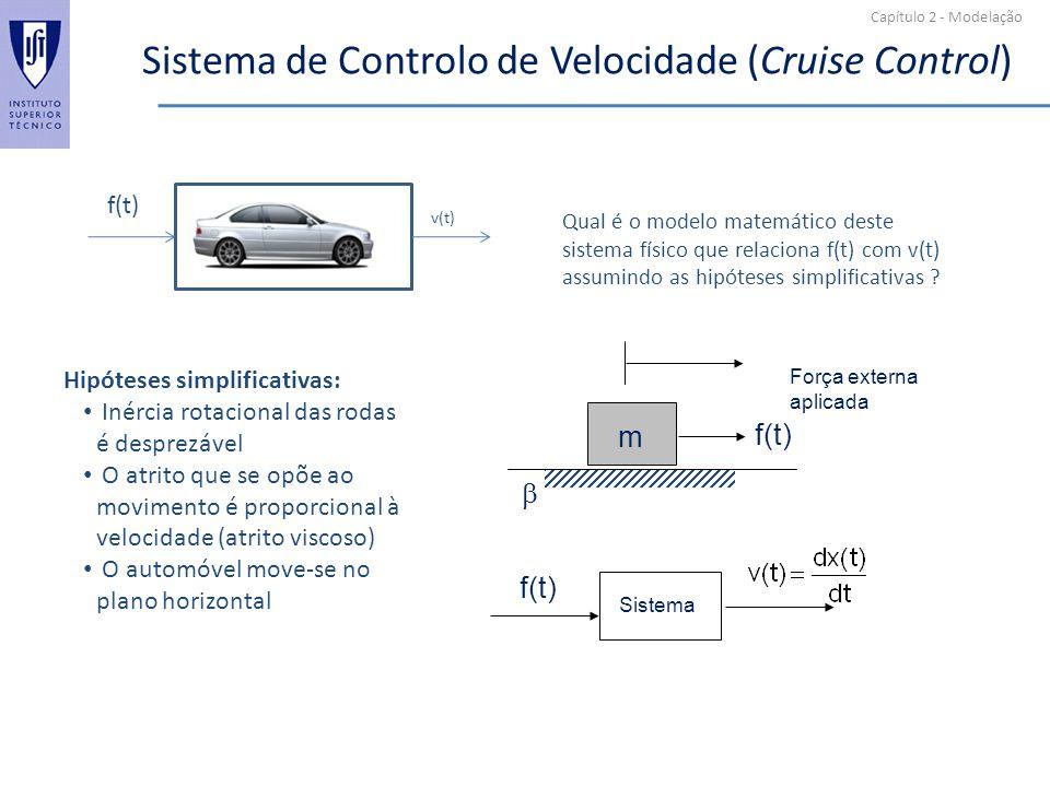 Capítulo 2 - Modelação Sistema de Controlo de Velocidade (Cruise Control) v(t) f(t) Qual é o modelo matemático deste sistema físico que relaciona f(t)