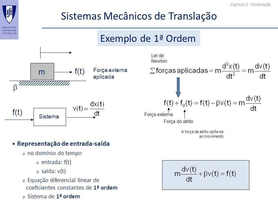 Capítulo 2 - Modelação Sistemas Mecânicos de Translação Exemplo de 1ª Ordem m f(t) Força externa aplicada f(t) Sistema A força de atrito opõe-se ao mo