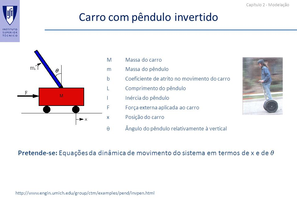 Capítulo 2 - Modelação Carro com pêndulo invertido http://www.engin.umich.edu/group/ctm/examples/pend/invpen.html MMassa do carro mMassa do pêndulo bCoeficiente de atrito no movimento do carro LComprimento do pêndulo IInércia do pêndulo FForça externa aplicada ao carro xPosição do carro Ângulo do pêndulo relativamente à vertical Pretende-se: Equações da dinâmica de movimento do sistema em termos de x e de