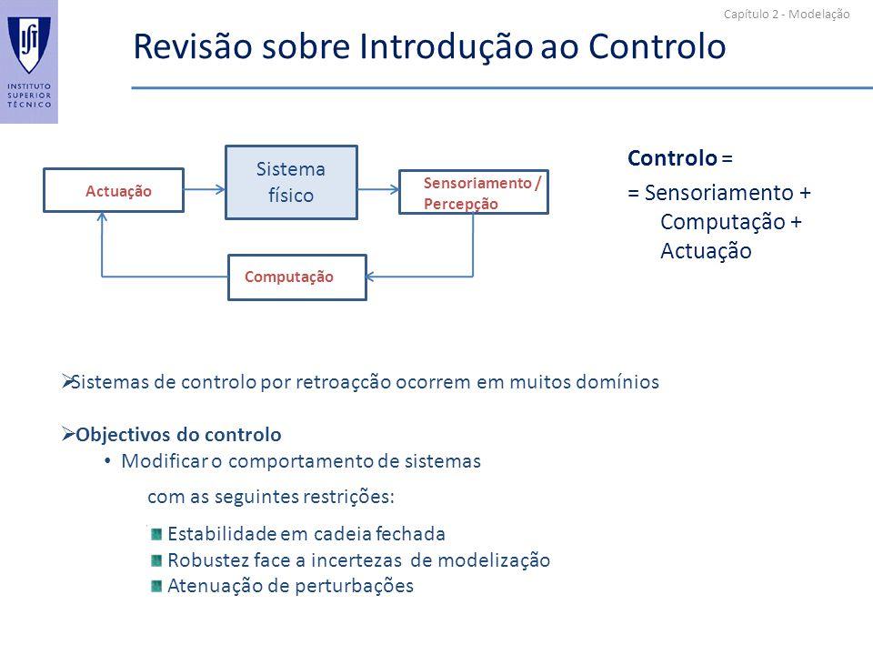 Capítulo 2 - Modelação Revisão sobre Introdução ao Controlo Controlo = = Sensoriamento + Computação + Actuação Sensoriamento / Percepção Computação Ac
