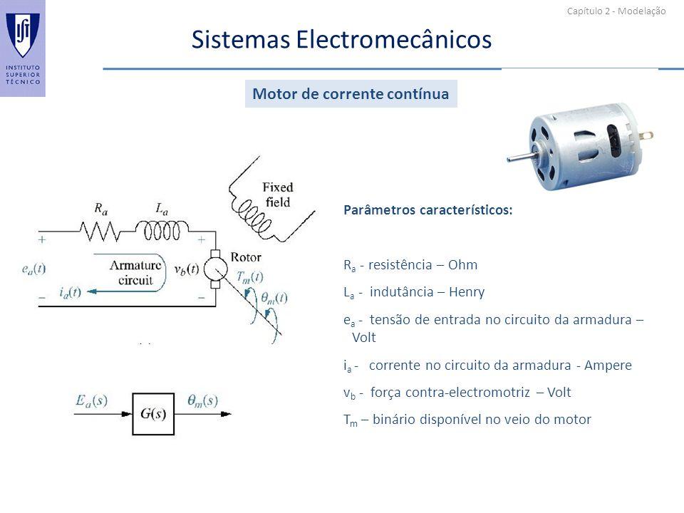 Capítulo 2 - Modelação Sistemas Electromecânicos Parâmetros característicos: R a - resistência – Ohm L a - indutância – Henry e a - tensão de entrada