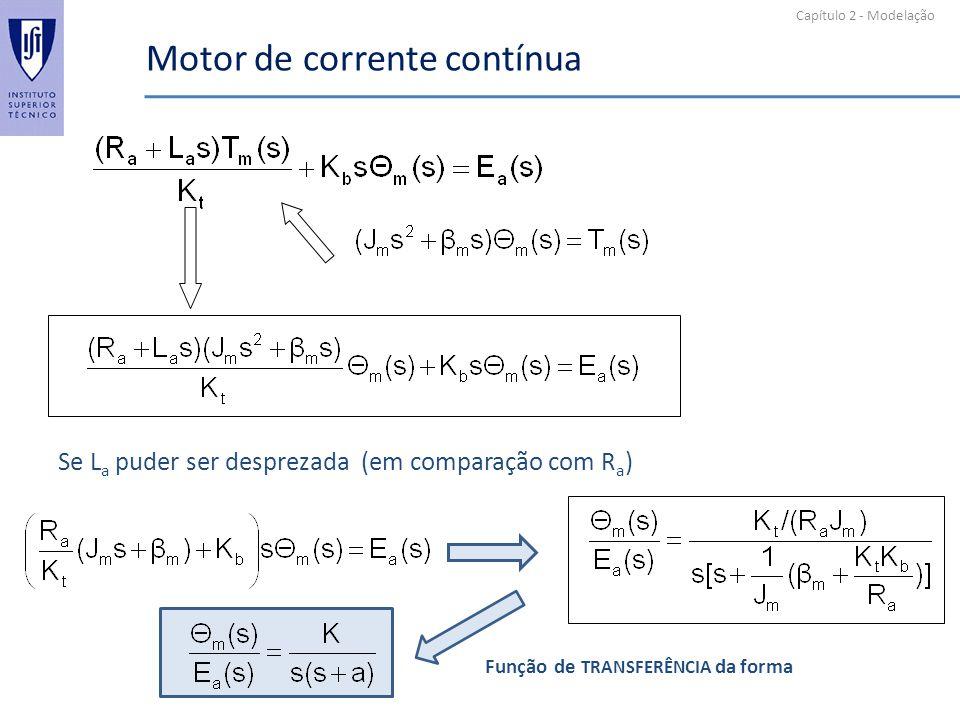 Capítulo 2 - Modelação Motor de corrente contínua Se L a puder ser desprezada (em comparação com R a ) Função de TRANSFERÊNCIA da forma