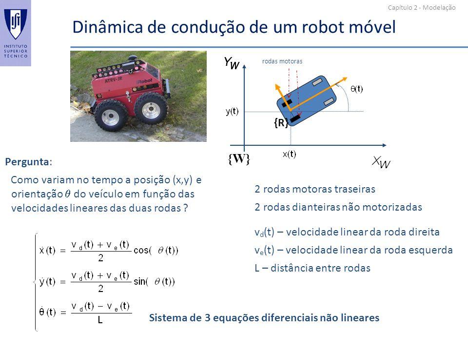 Capítulo 2 - Modelação Dinâmica de condução de um robot móvel {R} {W} v d (t) – velocidade linear da roda direita v e (t) – velocidade linear da roda