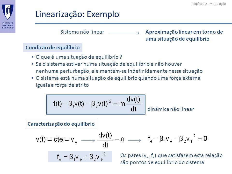 Capítulo 2 - Modelação Linearização: Exemplo Condição de equilíbrio O que é uma situação de equilíbrio ? Se o sistema estiver numa situação de equilíb