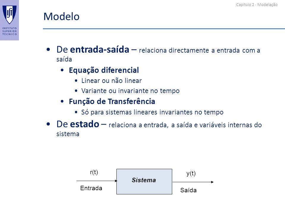 Capítulo 2 - Modelação Modelo De entrada-saída – relaciona directamente a entrada com a saída Equação diferencial Linear ou não linear Variante ou inv