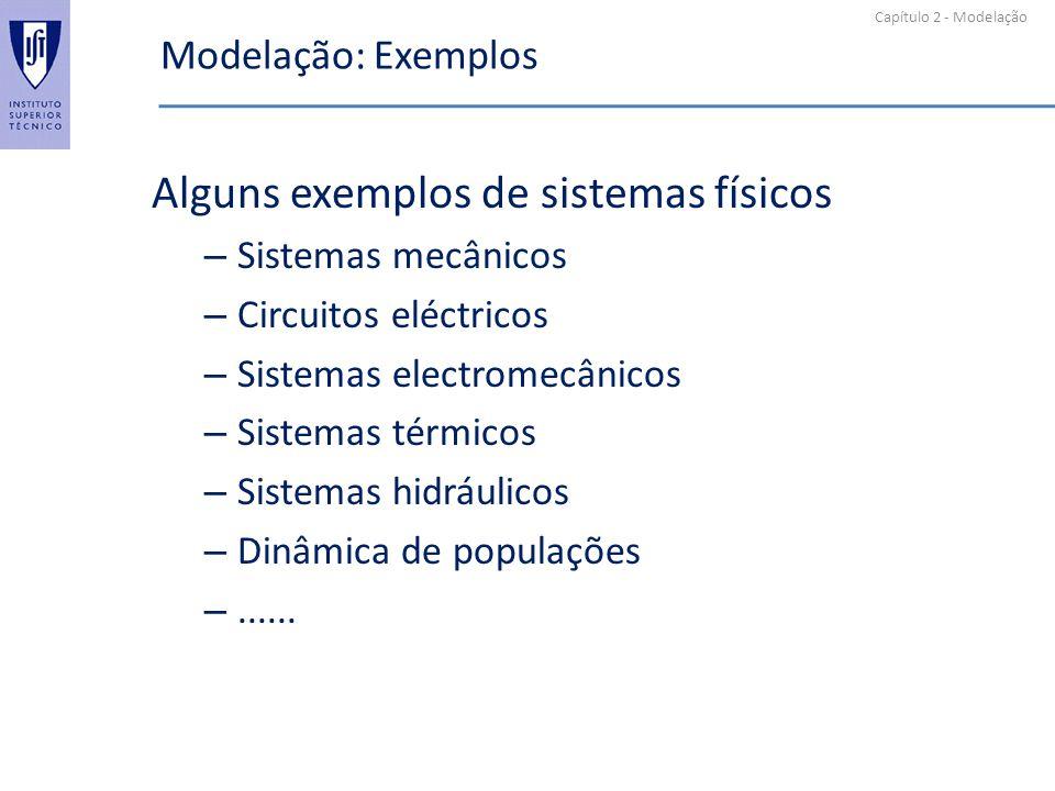 Capítulo 2 - Modelação Modelação: Exemplos Alguns exemplos de sistemas físicos – Sistemas mecânicos – Circuitos eléctricos – Sistemas electromecânicos