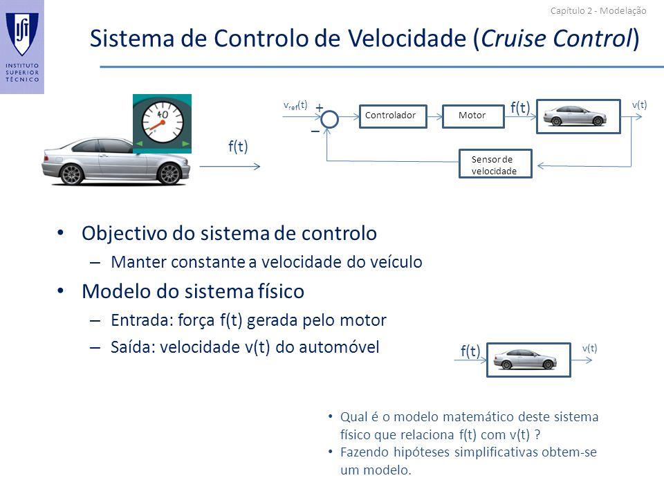 Capítulo 2 - Modelação Sistema de Controlo de Velocidade (Cruise Control) Objectivo do sistema de controlo – Manter constante a velocidade do veículo