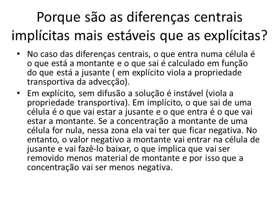 Porque são as diferenças centrais implícitas mais estáveis que as explícitas? No caso das diferenças centrais, o que entra numa célula é o que está a
