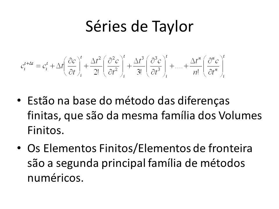 Séries de Taylor Estão na base do método das diferenças finitas, que são da mesma família dos Volumes Finitos. Os Elementos Finitos/Elementos de front