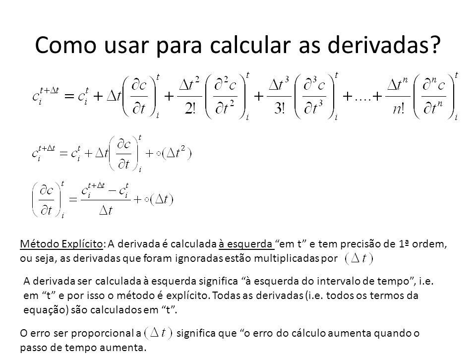 Como usar para calcular as derivadas? Método Explícito: A derivada é calculada à esquerda em t e tem precisão de 1ª ordem, ou seja, as derivadas que f