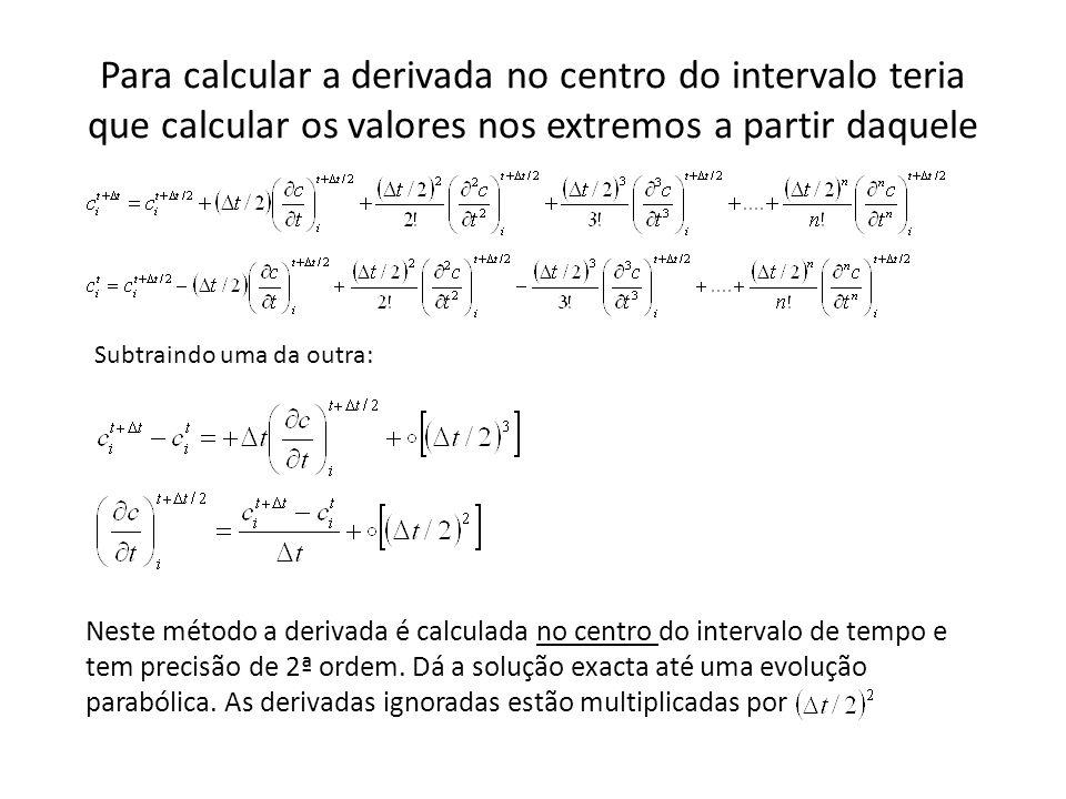 Para calcular a derivada no centro do intervalo teria que calcular os valores nos extremos a partir daquele Subtraindo uma da outra: Neste método a derivada é calculada no centro do intervalo de tempo e tem precisão de 2ª ordem.