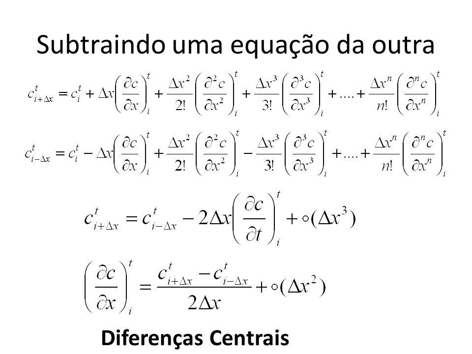 Subtraindo uma equação da outra Diferenças Centrais
