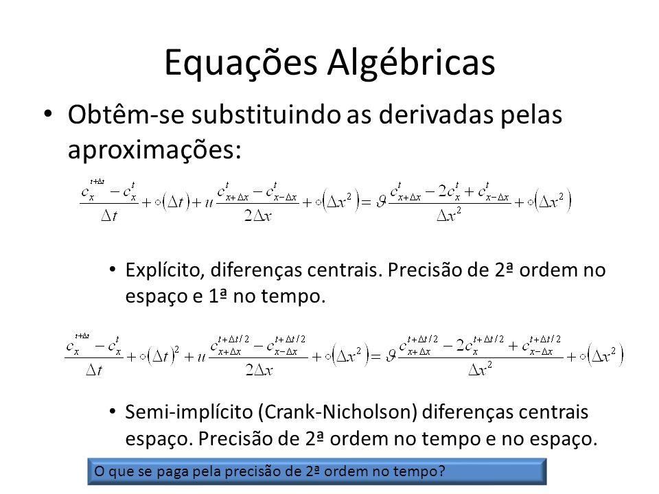 Equações Algébricas Obtêm-se substituindo as derivadas pelas aproximações: Explícito, diferenças centrais. Precisão de 2ª ordem no espaço e 1ª no temp