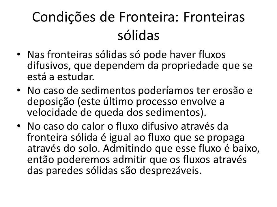 Condições de Fronteira: Fronteiras sólidas Nas fronteiras sólidas só pode haver fluxos difusivos, que dependem da propriedade que se está a estudar.