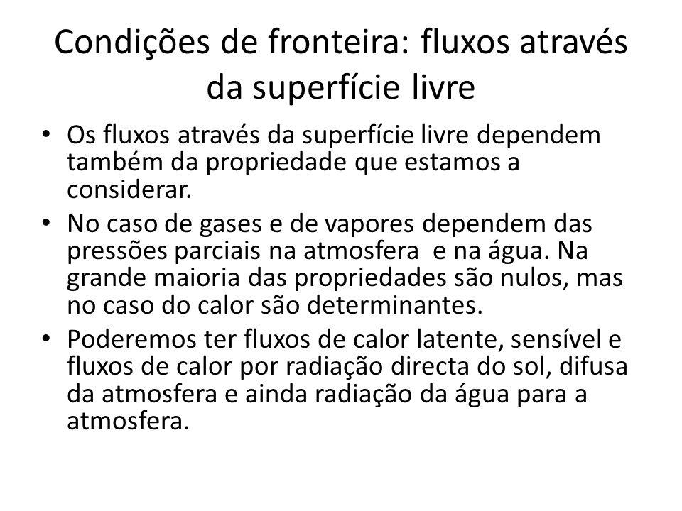 Condições de fronteira: fluxos através da superfície livre Os fluxos através da superfície livre dependem também da propriedade que estamos a consider