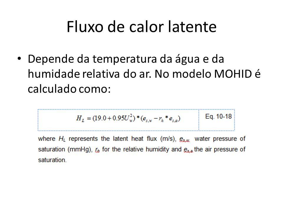 Fluxo de calor latente Depende da temperatura da água e da humidade relativa do ar. No modelo MOHID é calculado como:
