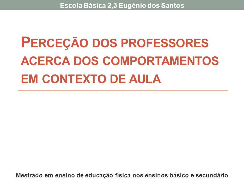 P ERCEÇÃO DOS PROFESSORES ACERCA DOS COMPORTAMENTOS EM CONTEXTO DE AULA Escola Básica 2,3 Eugénio dos Santos Mestrado em ensino de educação física nos