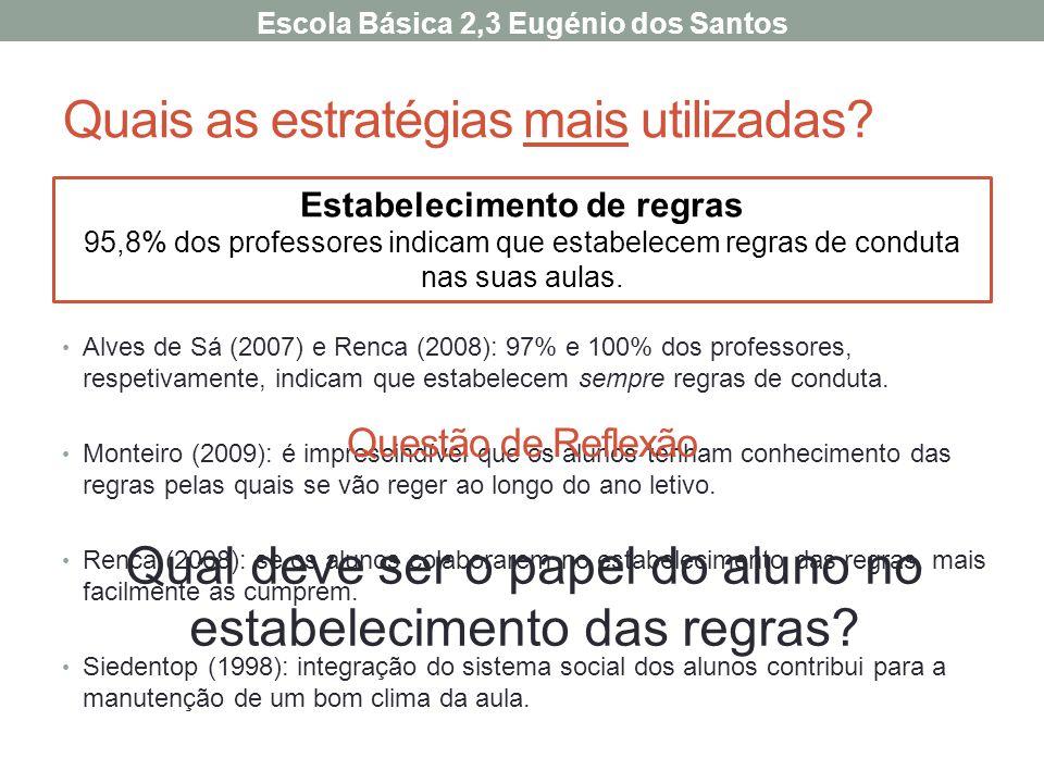 Quais as estratégias mais utilizadas? Alves de Sá (2007) e Renca (2008): 97% e 100% dos professores, respetivamente, indicam que estabelecem sempre re