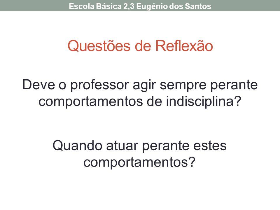 Questões de Reflexão Deve o professor agir sempre perante comportamentos de indisciplina? Escola Básica 2,3 Eugénio dos Santos Quando atuar perante es