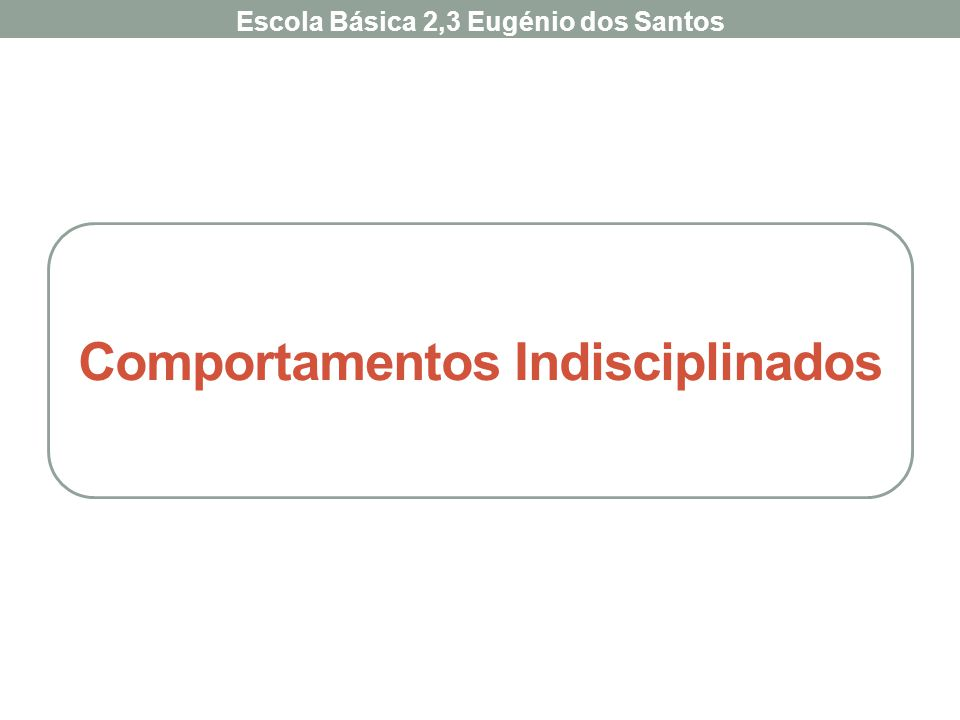 Comportamentos Indisciplinados Escola Básica 2,3 Eugénio dos Santos