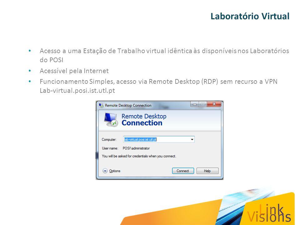 Laboratório Virtual Acesso a uma Estação de Trabalho virtual idêntica às disponíveis nos Laboratórios do POSI Acessível pela Internet Funcionamento Simples, acesso via Remote Desktop (RDP) sem recurso a VPN Lab-virtual.posi.ist.utl.pt