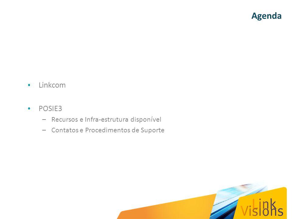 Agenda Linkcom POSIE3 –Recursos e Infra-estrutura disponível –Contatos e Procedimentos de Suporte