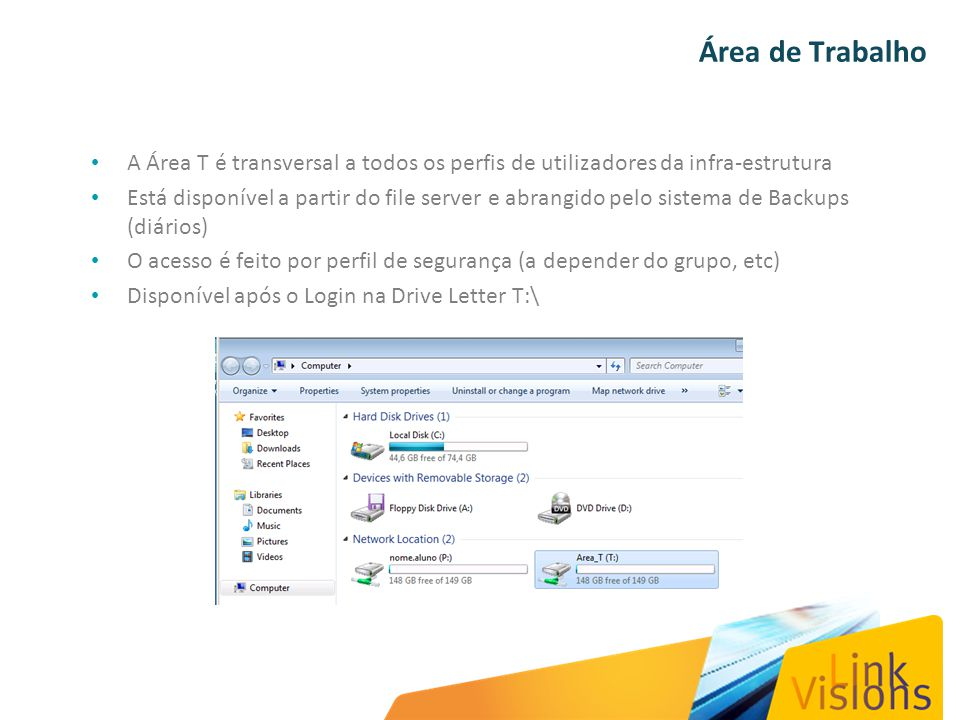 Área de Trabalho A Área T é transversal a todos os perfis de utilizadores da infra-estrutura Está disponível a partir do file server e abrangido pelo
