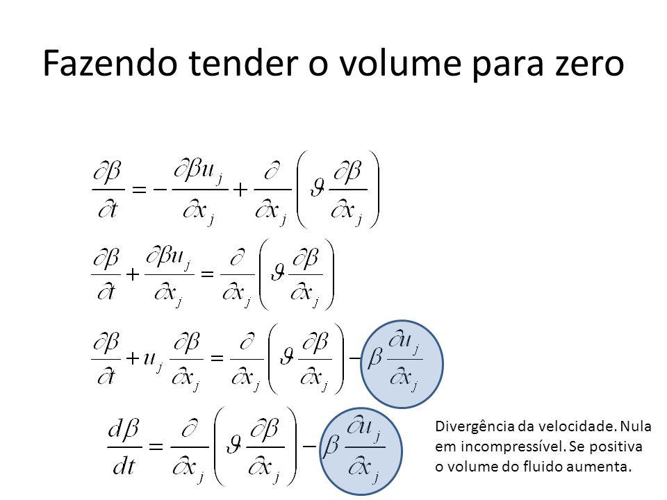 Fazendo tender o volume para zero Divergência da velocidade. Nula em incompressível. Se positiva o volume do fluido aumenta.