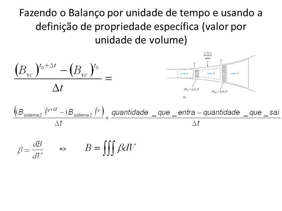 Fazendo o Balanço por unidade de tempo e usando a definição de propriedade específica (valor por unidade de volume) =>