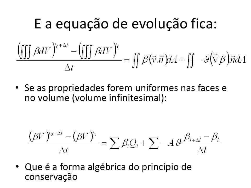 E a equação de evolução fica: Se as propriedades forem uniformes nas faces e no volume (volume infinitesimal): Que é a forma algébrica do princípio de