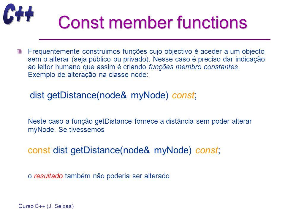 Curso C++ (J. Seixas) Const member functions Frequentemente construimos funções cujo objectivo é aceder a um objecto sem o alterar (seja público ou pr