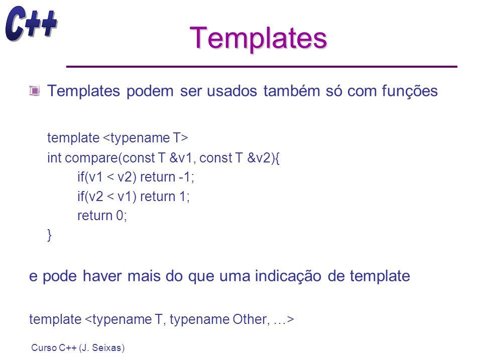 Curso C++ (J. Seixas) Templates Templates podem ser usados também só com funções template int compare(const T &v1, const T &v2){ if(v1 < v2) return -1