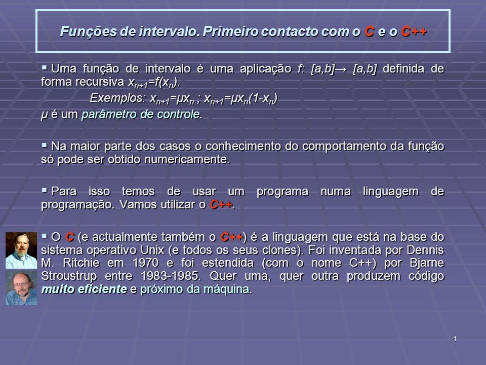 1 Funções de intervalo. Primeiro contacto com o C e o C++ Uma função de intervalo é uma aplicação f: [a,b] [a,b] definida de forma recursiva x n+1 =f(