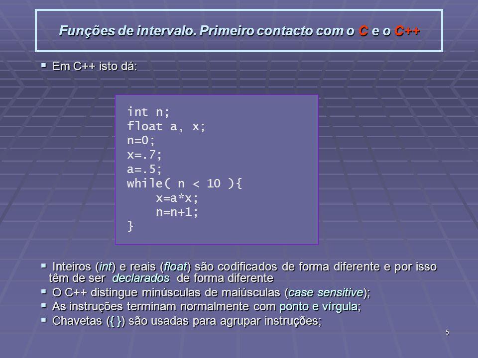 5 Funções de intervalo. Primeiro contacto com o C e o C++ Em C++ isto dá: Em C++ isto dá: Inteiros (int) e reais (float) são codificados de forma dife