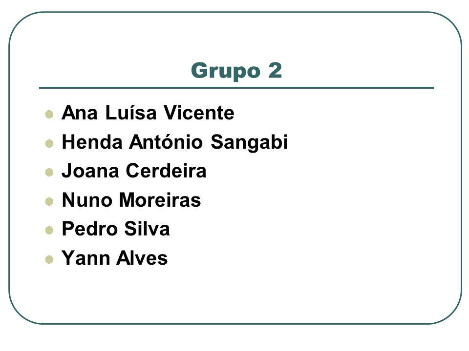 Grupo 2 Ana Luísa Vicente Henda António Sangabi Joana Cerdeira Nuno Moreiras Pedro Silva Yann Alves