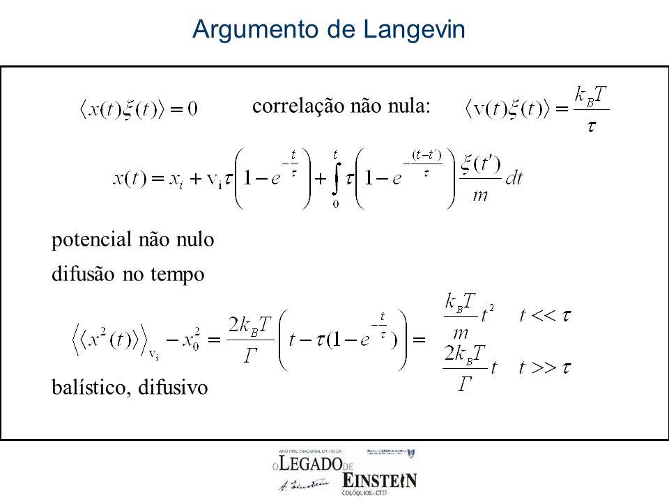 correlação não nula: potencial não nulo Argumento de Langevin difusão no tempo balístico, difusivo